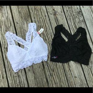 Ladies NOBO Lace Criss Cross Black White Bra Set